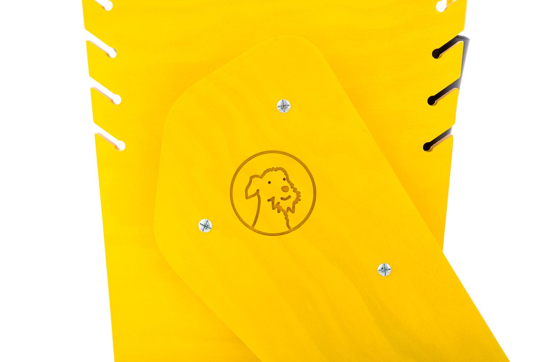 chariot pour chien handicape du train arriere - Finition jaune - Lacets jaunes