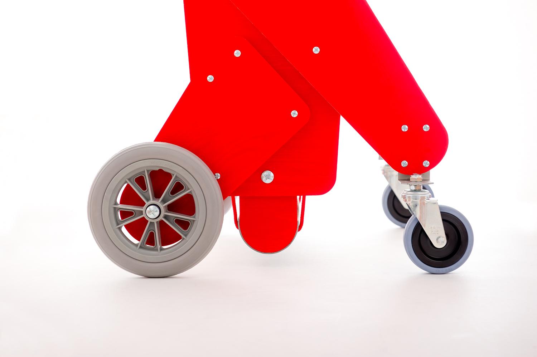 chariot pour chien handicape du train arriere - Finition rouge - Lacets rouges