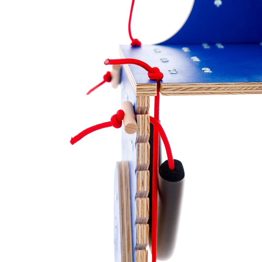 chariot pour chien handicape du train arriere - Finition bleu - Lacets rouges