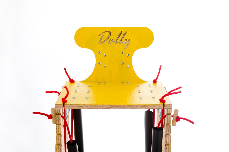 chariot pour chien handicape du train arriere - Finition jaune - Lacets rouges